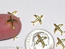 2pc Miniature dollhouse tiny Golden Little floating Airplane airport findings