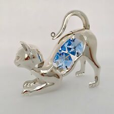 Cat FIGURINE - ORNAMENT SILVER PLATED WITH AUSTRIAN BLUE CRYSTALS