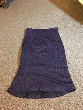 LAURA ASHLEY ESSENTIALS  purple animal print lined pencil  skirt Size 12