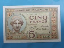 1937 Madagascar 5 FRANCS (AUNC+) <P-35>