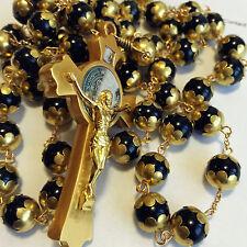 Catholic Gold 10MM Blank Obsidian BEAD 5 DECADE rosary Pardon cross necklace BOX
