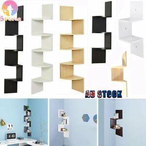 Wall Mount Corner Home Furniture 2-3-5 Tier Floating Display Zig Zag Opt shelf