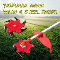 6 Steel Blades Razors Lawn Mower Grass Eater Trimmer Head Brush Cutter Tool