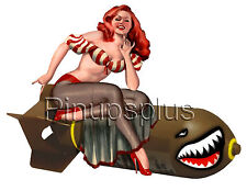 WWII Bomber Nost Art Pinup girl Waterslide Decal Sticker Great for Guitar S960