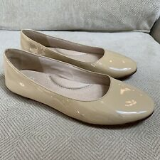Eileen Fisher Nude Beige Patent Leather Ballet Flats Shoes 7