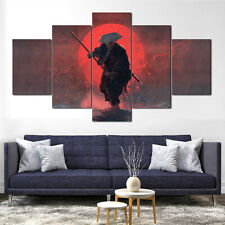 Samurai Sword Blood Katana Canvas Print Framed 5Pcs Panel Wall Art Poster Decor