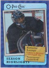 07/08 OPC...ROBERTO LUONGO...SEASON HIGHLIGHTS...CARD # SH-16...CANUCKS