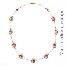 Ancien Murano Verre cou chaîne murins ROUGE 70er Ans Old Red Glass Necklace RARE