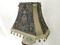 "Vtg Victorian Art Deco Lamp Shade Blue & Gold Tassel Fringe 16""x11"" Traditional"