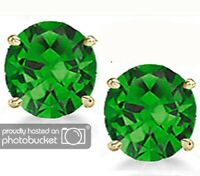 14K GOLD EMERALD 2.86 CARAT ROUND SHAPE STUD PUSH BACK EARRINGS BUY 2 GET 1 FREE
