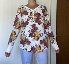 Time and Tru fall autumn floral long sleeve thermal top shirt XXL