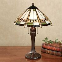 Wendelle Stained Glass Table Lamp Ivory Each with CFL Bulb