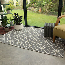 Modern Geometric Grey Flatweave Rug Thin Easy Clean Non Shed Small large Runners
