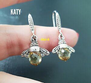 Bumble Bee Drop Dangle Small Pair Earrings Silver Tone Acrylic Bead Crystal Gift