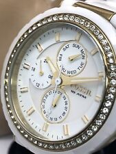 Fossil CE1012 Women's White Ceramic & Gold Tone Crystal Pave Quartz Watch USED
