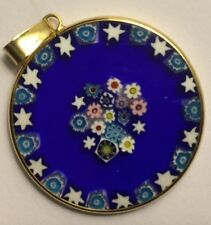 Vintage 24mm Millefiori Murano Glass Pendant Blue With Stars