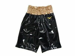 MIZUNO Boxing Trunks Pants Long type made in JAPAN Black × Gold Enamel-like