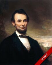 PRESIDENT ABRAHAM LINCOLN PORTRAIT US CIVIL WAR PAINTING ART REAL CANVAS PRINT