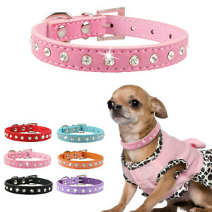 Cheap Suede Leather Rhinestones Dog Collars Small Pet Cat Puppy Necklace XXS-S