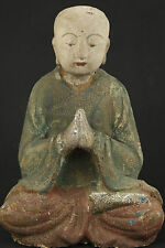 CHINA TIBET OLD WOOD COLLECTABLE HANDWORK CARVED BUDDHA GOOD STAND ORNAMENT