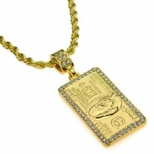 "Iced Gold Plated 100 Dollar Bill Pendant & 24"" Rope Hip Hop Men Women Necklace"