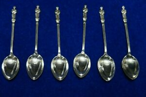 Set Of Six Vintage Silver Plated Apostle Tea Spoons stamped epns