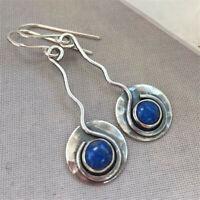 Fashion Women 925 Silver Blue Sapphire Dangle Drop Earrings Ear Hook Wedding