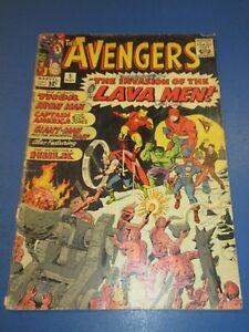 Avengers #5 Silver age Hulk Lava Men Key Good+