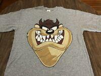Vintage 1996 Looney Tunes Taz Tasmanian Devil Large Gray T Shirt Fits Like XL
