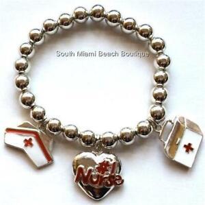 #1 Nurse Nursing Charm Bracelet RN LPN CNA Cap Heart Nurses Gift Silver Plated