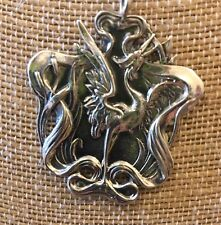 Art Nouveau Heron In Cat Tails Reproduction Piece, Sterling Silver