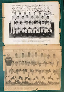1952 Kansas City Blues Team Photo & News Clipping Moose Skowron Rare Baseball