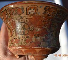 """Sale! Pre Columbian Mayan Crypt Tripod Bowl, Glyphs 6"""" Prov"""