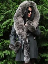 ⭐ NEW 2018 LUXE GREY SHEARLING LAMBSKIN COAT JACKET HUGE FROSTED FOX FUR HOOD XL