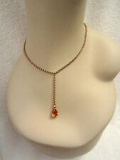 Agatha Paris Citrine Crystal Drop Necklace Scottie Charm Signature Gold Tone