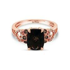 LeVian 14K Rose Gold Smoky Quartz Round Chocolate Brown Bezel Set Diamond Ring