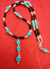 Necklace turquoise, black onyx & Tibet silver. 18 12 inch. One of a kind.