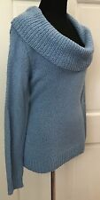 New York & Company Blue Cowl Neck Turtleneck Sweater SZ M Stretchy Wool Blend