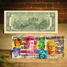 PRINCESS DIANA / MARILYN MONROE Candles in the Wind $2 US Bill - SIGNED by Rency