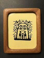 Vintage Cut Paper Silhouette Welsh or Lakeland Terriers Hearts Birds Tree Framed