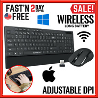Wireless Keyboard and Mouse Combo Computer Desktop PC Laptop Cordless Long Life