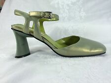 "Linea Roma Pearlescent Light Green 3"" High Heel Ankle Strap Pumps Size 7M"