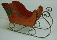 Vintage Solid Wood Christmas Holiday Decoration Santa Reindeer Sleigh Retro