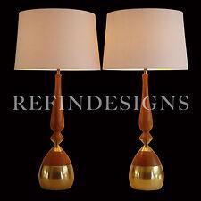TONY PAUL WESTWOOD WALNUT BRASS MODERN ATOMIC AGE HUGE TABLE LAMP PAIR 1950's