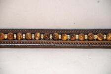 """15"""" (Cob) Brown Browband Tigers Eye Bead and Jonquil Rondells in Gold Tone"""