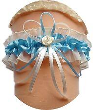 XXL Braut Strumpfband bis 80 cm blau creme mit Röschen Schleife Hochzeit Satin