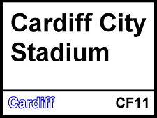 Cardiff City Fc Estadio Fútbol De Aluminio Metal signo calle Tierra Pájaros Azules