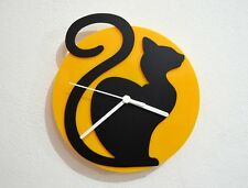 Cartoon Cat - Black & Yellow Silhouette - Wall Clock
