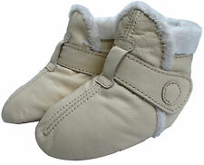 carozoo booties cream 12-18m soft sole leather baby shoes