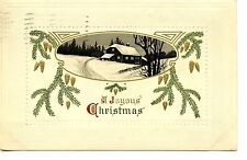 Night Snow Scene-House-Joyous Christmas Greeting Holiday Vintage Postcard